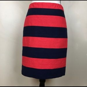J crew stripped skirt size 2